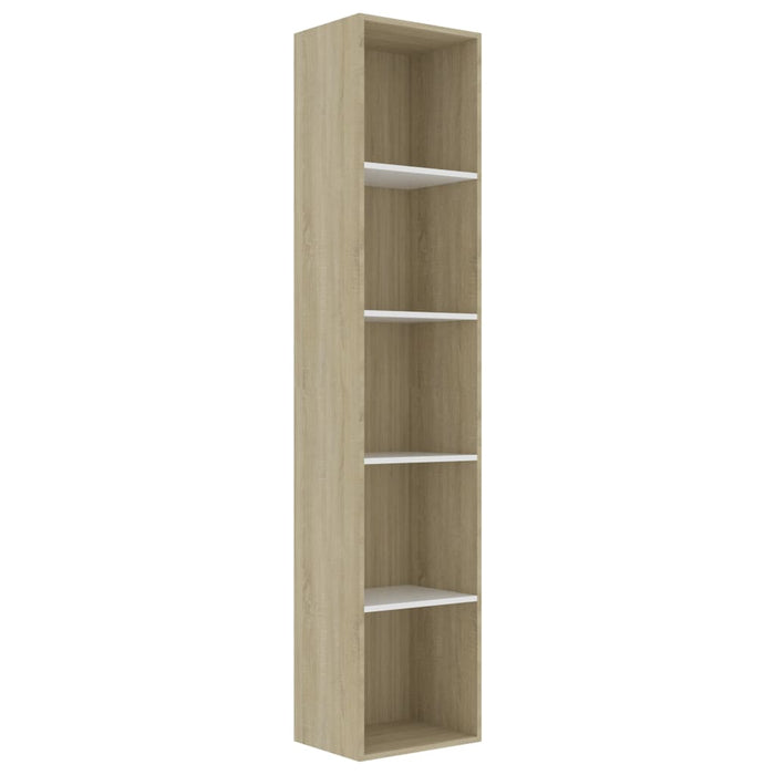 "AbillionZ Collection Book Cabinet White and Sonoma Oak 15.7""x11.8""x74.4"" Chipboard - AbillionZ"