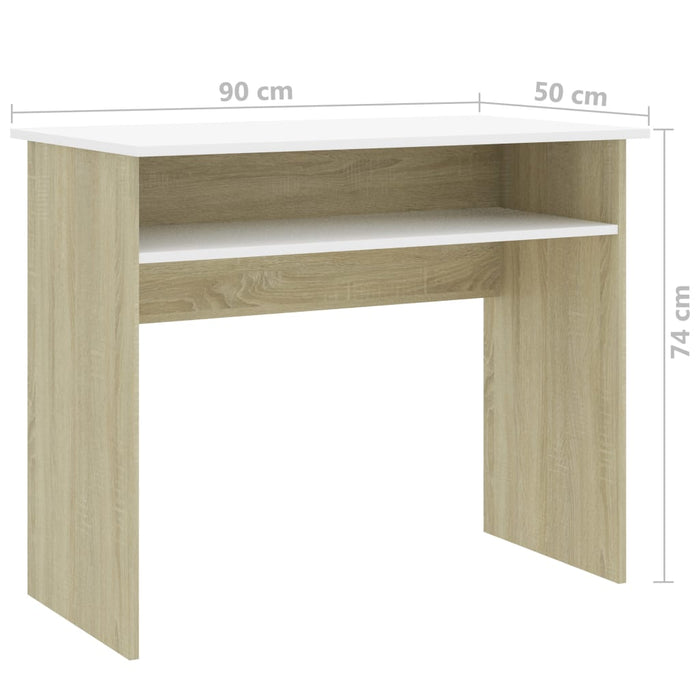"AbillionZ Collection Desk White and Sonoma Oak 35.4""x19.6""x29.1""Chipboard - AbillionZ"