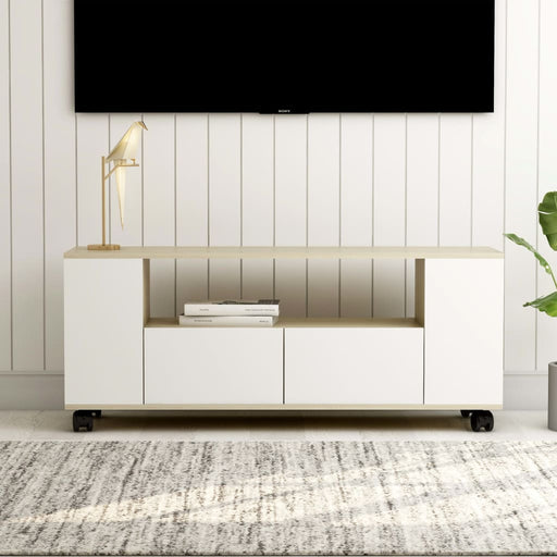 "AbillionZ Collection TV Cabinet White and Sonoma Oak 47.2""x11.8""x16.9"" Chipboard - AbillionZ"
