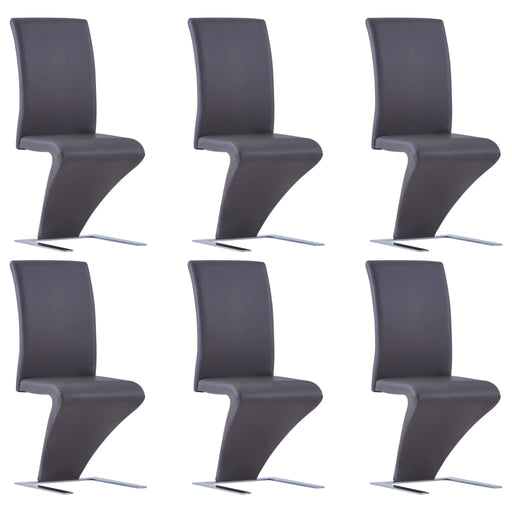 AbillionZ Collection Dining Chairs with Zigzag Shape 6 pcs Gray Faux Leather - AbillionZ