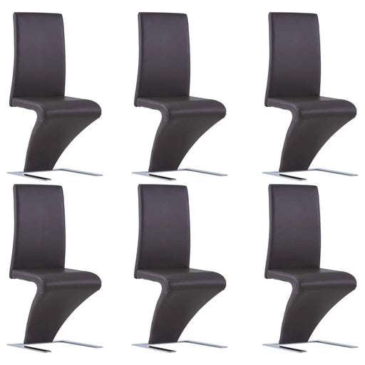 AbillionZ Collection Dining Chairs with Zigzag Shape 6 pcs Brown Faux Leather - AbillionZ