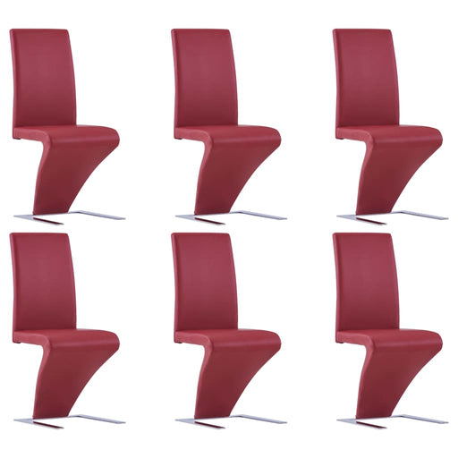 AbillionZ Collection Dining Chairs with Zigzag Shape 6 pcs Red Faux Leather - AbillionZ