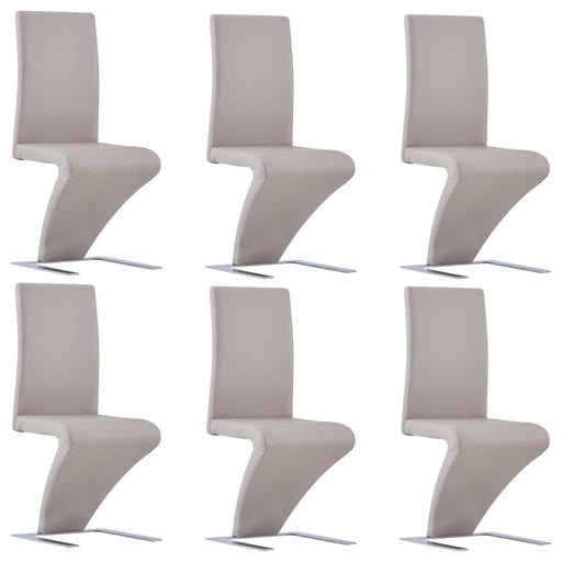 AbillionZ Collection Dining Chairs with Zigzag Shape 6 pcs Cappuccino Faux Leather - AbillionZ