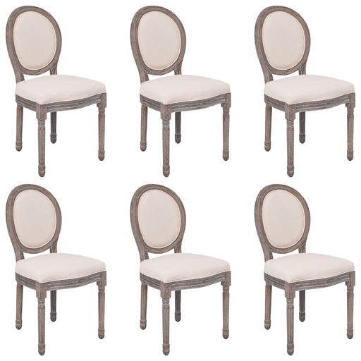 3055182 AbillionZ Collection Dining Chairs 6 pcs Cream Fabric (288452+288453) (US only) - AbillionZ