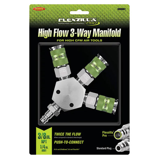 "Flexzilla Pro High Flow 3 Way Manifold 3/8"" NPT High Flow Couplers and Plug - AbillionZ"