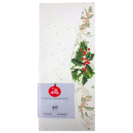 40 Count Holly Envelopes - Wholesale Case PACK of 72 - AbillionZ