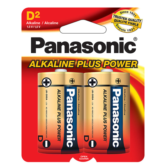 "Panasonic  Alkaline Size ""D"" Plus Power (2-Pack))"
