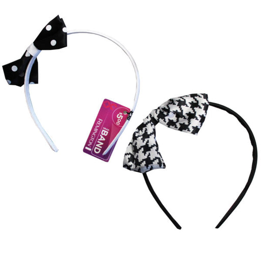 1 Count Polka Dot Bow Head Band in Assorted Colors - Wholesale Case PACK of 72 - AbillionZ