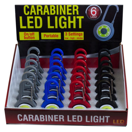 Plastic Carabiner LED Light Countertop Display - Wholesale Case PACK of 24 - AbillionZ