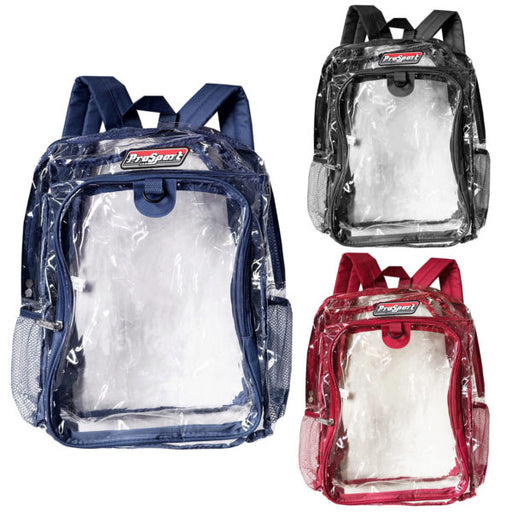 17'' clear pvc backpack with beverage pocket in assorted col - Wholesale Case PACK of 8 - AbillionZ