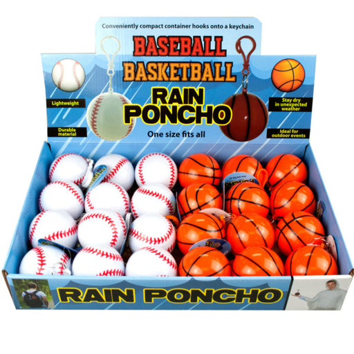 Baseball and Basketball Rain Poncho in Countertop Display. - Wholesale Case PACK of 24 - AbillionZ