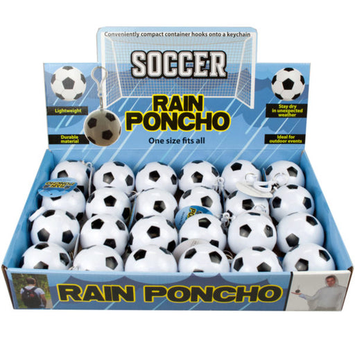 Soccer Ball Keychain Rain Poncho in Countertop Display - Wholesale Case PACK of 24 - AbillionZ
