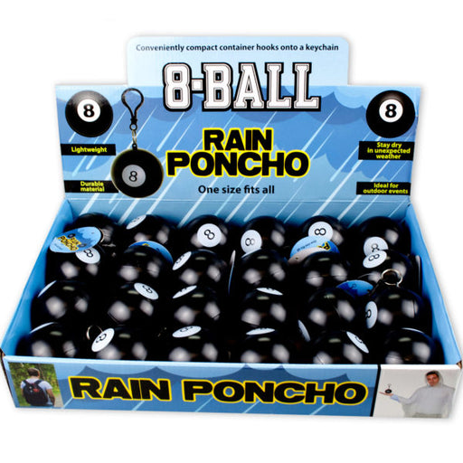 8-Ball Rain Poncho in Countertop Display - Wholesale Case PACK of 24 - AbillionZ