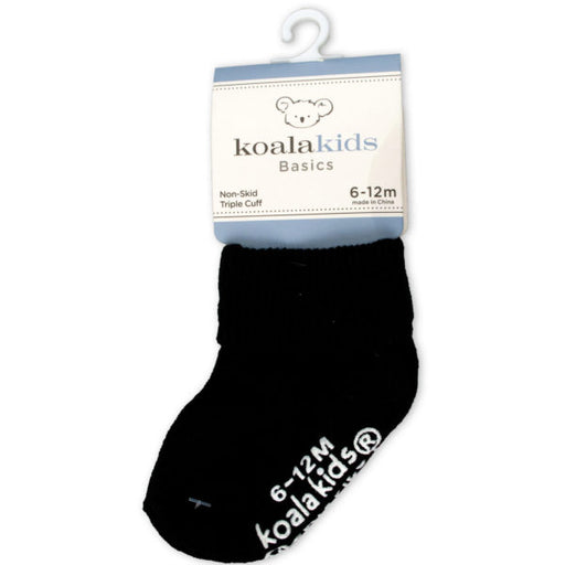 Koala Kids Basics Black Socks 6 - 12 Months of Age - Wholesale Case PACK of 96 - AbillionZ
