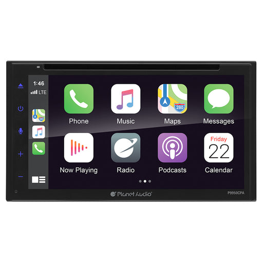 "Planet Audio D.Din 6.75"" Touchscreen Android Auto & Apple Carplay AM/FM/BT/CD/DVD"