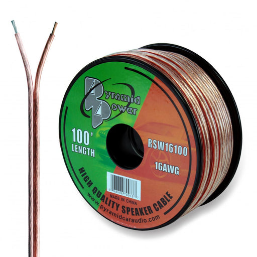 SPEAKER WIRE PYRAMID 16 GA 100' CLEAR