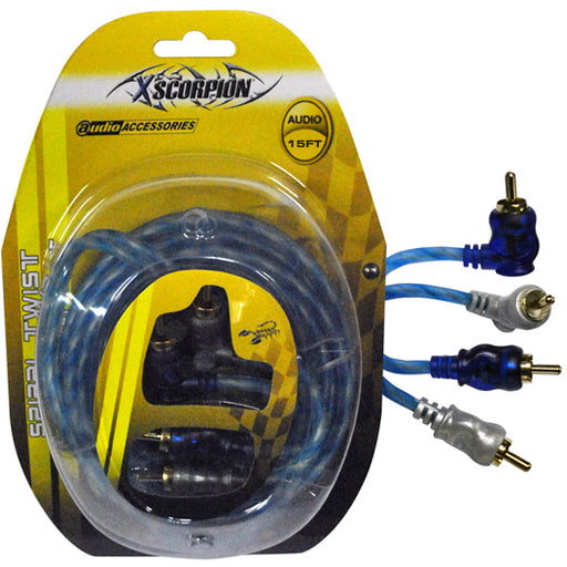 RCA CABLE 15' RIGHT ANGLE BLUE/PLATINUM TWISTED - AbillionZ