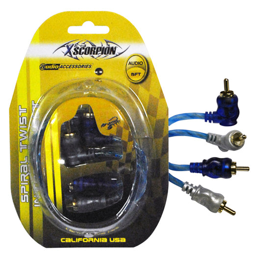 RCA CABLE 6' RIGHT ANGLE BLUE/PLATINUM TWISTED - AbillionZ