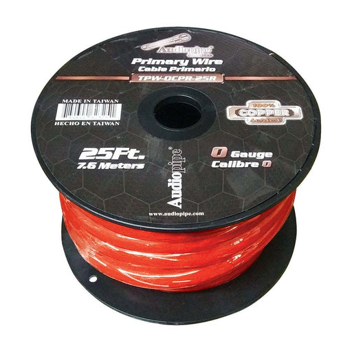 Audiopipe 0 Gauge 100% Copper Series Power Wire - 25 Foot Roll - Red PVC outer-jacket