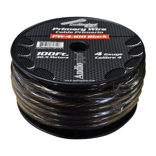 POWER WIRE AUDIOPIPE 4GA 100' BLACK
