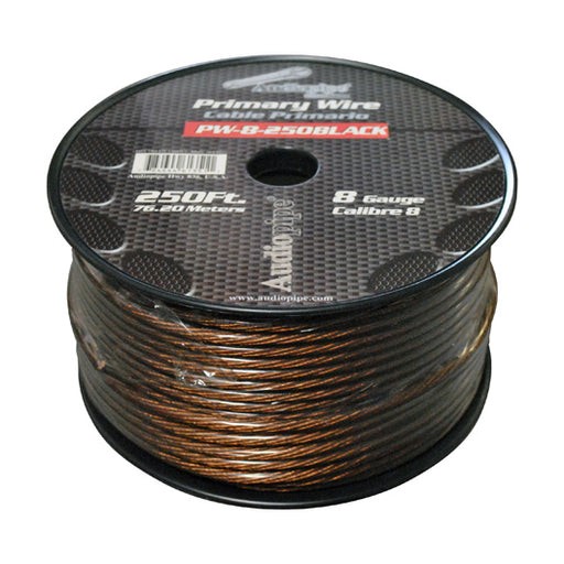 POWER WIRE AUDIOPIPE 8GA 250' BLACK