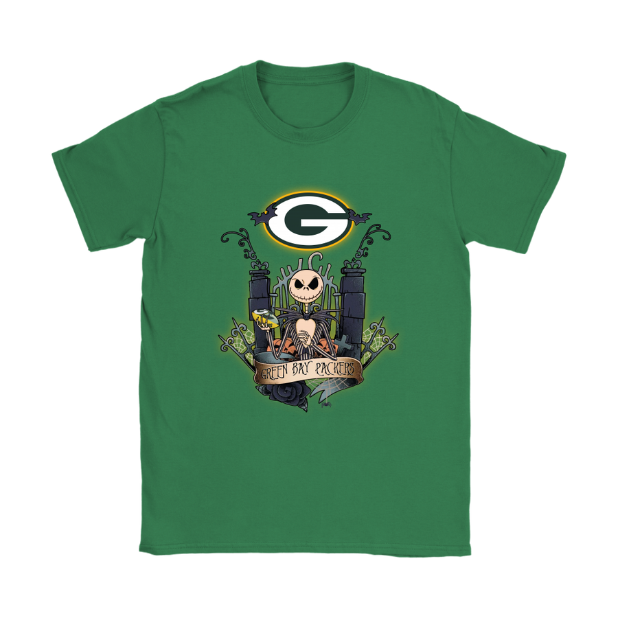 be627fdb5 Green Bay Packers Jack Skellington This Is Halloween NFL Shirts-Gildan  Womens T-Shirt