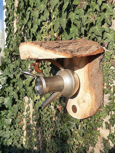 Pewter Coffee Pot Bird Nest Box or Feeder