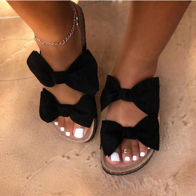 Summer Cute Bow Black Red Leopard Slides Sandles F141