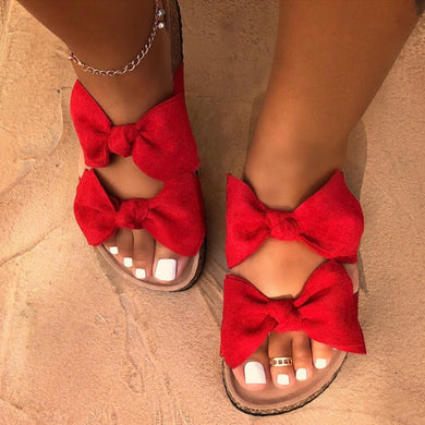 Cute Bow Black Red Leopard Slides Sandles F141