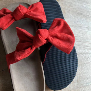 Summer Cute Bow Black Red Leopard Slides Sandles F141 - Furdela Wholesale