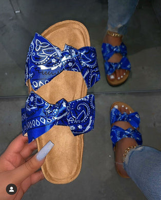 Blue Scarf Pattern Bow Slides Sandles F696 - Furdela Wholesale