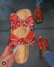 Red Scarf Pattern Bow Slides Sandles F696