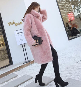 White/Pink Iceland Wool Fur Coat DF007 - DelaFur Wholesale