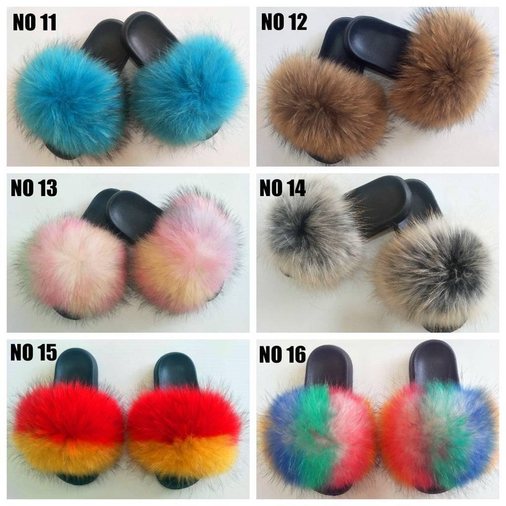 New Color Raccoon Fur Slides F1212 - Furdela Wholesale
