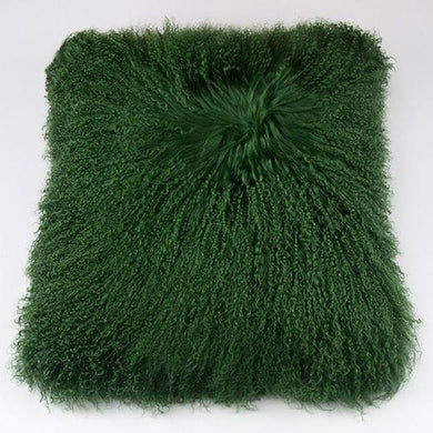 Dark Green Mongolian Lamb Fur Pillow Covers DO777 - DelaFur Wholesale
