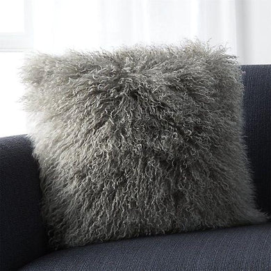 Dark Grey Mongolian Lamb Fur Pillow Covers DO777 - DelaFur Wholesale
