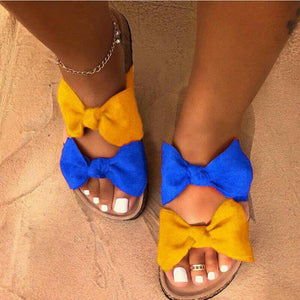 Bow Yellow and Blue Slides Sandles F141 - Furdela Wholesale