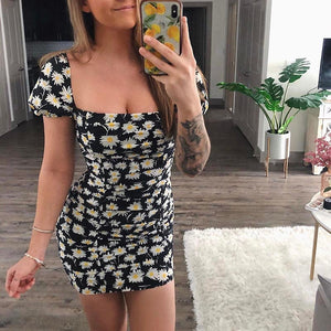 Fitted Short Sleeve Daisy Off The Shoulder Dress DA180