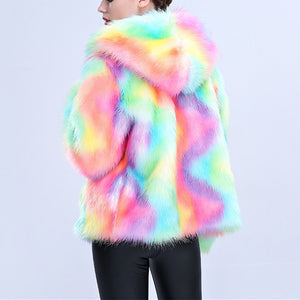 Rainbow Unicorn Winter Women Faux Fur Coat Plus Size - Furdela Wholesale