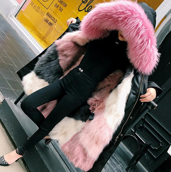Colorful Pink Fox Fur Parka DF005