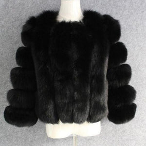 Luxury Full Pelt Fox Fur Coat 55CM White/Black/Grey/Deep Green/Silver/Purple DO1160 - DelaFur Wholesale