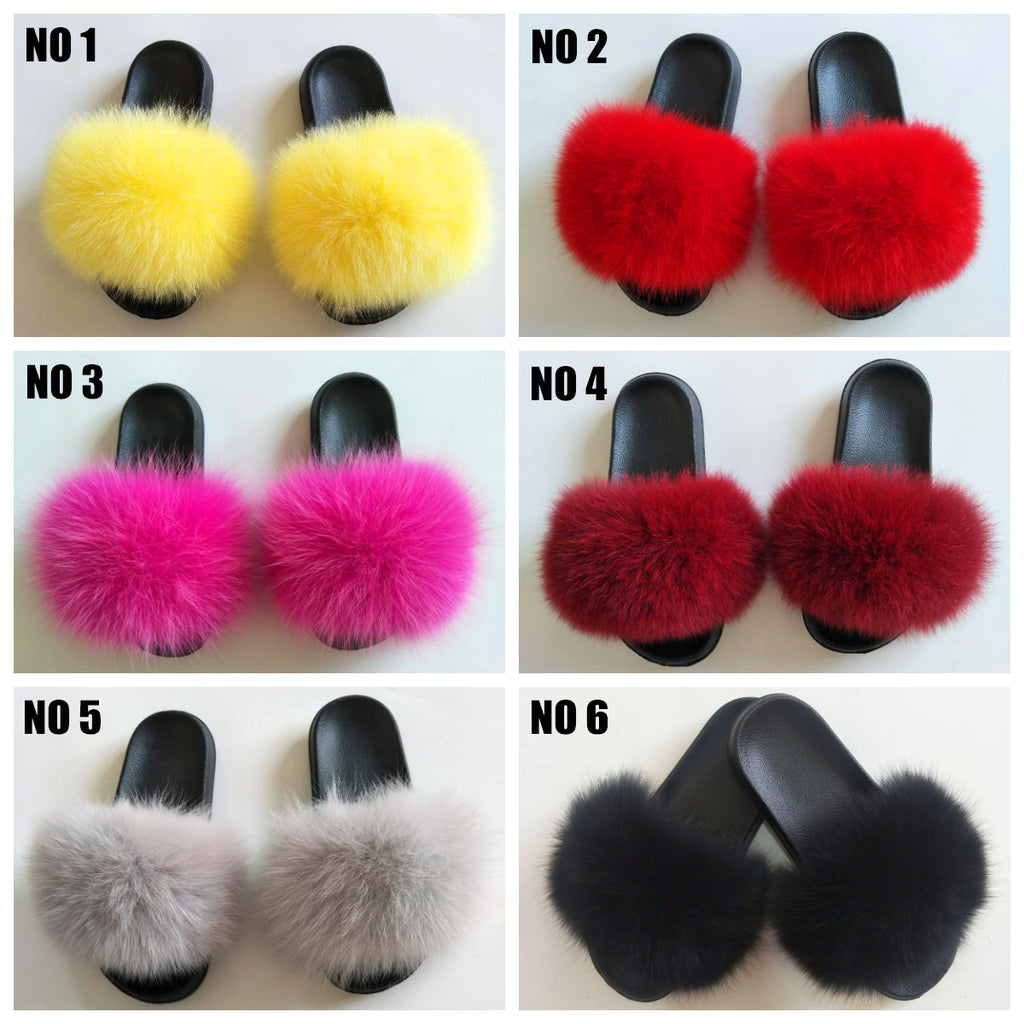 New Color Fox Fur Slides F1211 - Furdela Wholesale