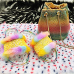 Load image into Gallery viewer, Bling Rainbow Color Crystal Fur Slides F1901 - Furdela Wholesale