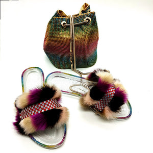 Bling Rainbow Color Crystal Fur Slides F1901 - Furdela Wholesale