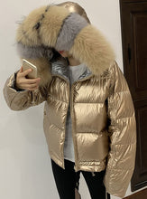 Real Fox Fur Collar Hooded with White Duck Down Winter Jacket F242