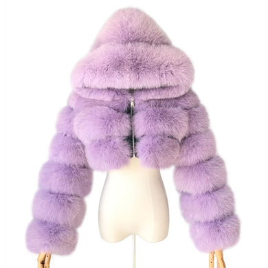 Real Fox Fur Hooded Fur Coat