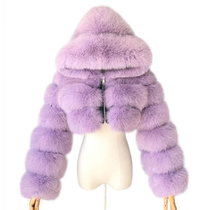 Real Fox Fur Hooded Fur Coat F405 - Furdela Wholesale