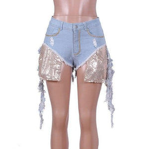 Sexy Club Sequin Destroyed Denim Shorts F773 - Furdela Wholesale