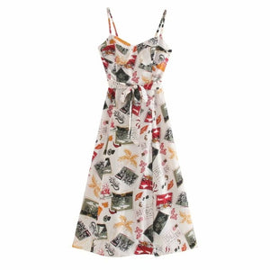 Cut Out Sleeveless Fitted Print One Piece Dress DA154