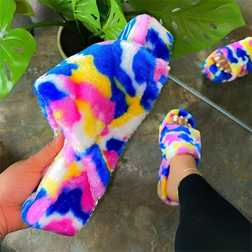 Mix Color Fluffy Fur Slippers Platform Plush Shoes F1406 - Furdela Wholesale